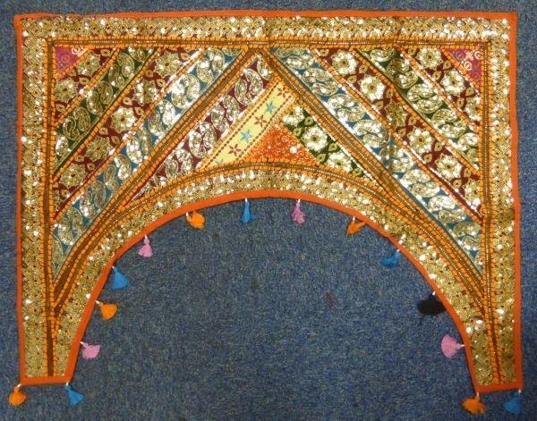 Indian Sparkly Fabric Patchwork Door Arch Wall Hanging ― Pilgrims Regarding Indian Fabric Wall Art (View 11 of 15)