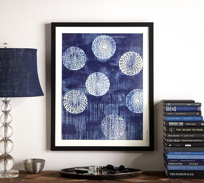Indigo Circles Abstract Framed Print | Pottery Barn In Abstract Framed Art Prints (View 13 of 15)