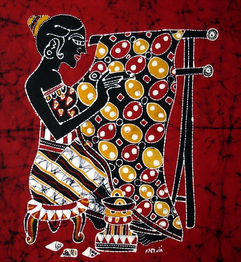 Indonesia Ethnic Decorative Wall Hanging Folk Art, Batik Maker With Regard To Batik Fabric Wall Art (Image 10 of 15)