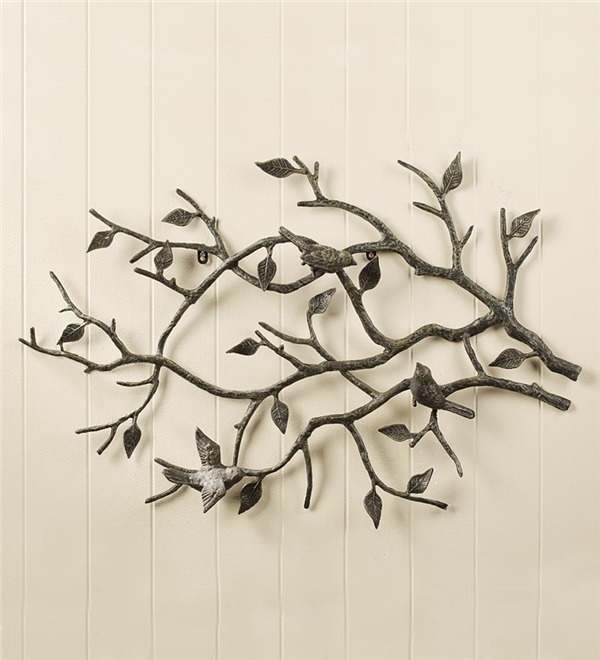 Indoor/outdoor Cast Iron Bird Branch Wall Art | Metal Wall Art With Regard To Fabric Bird Wall Art (Image 8 of 15)