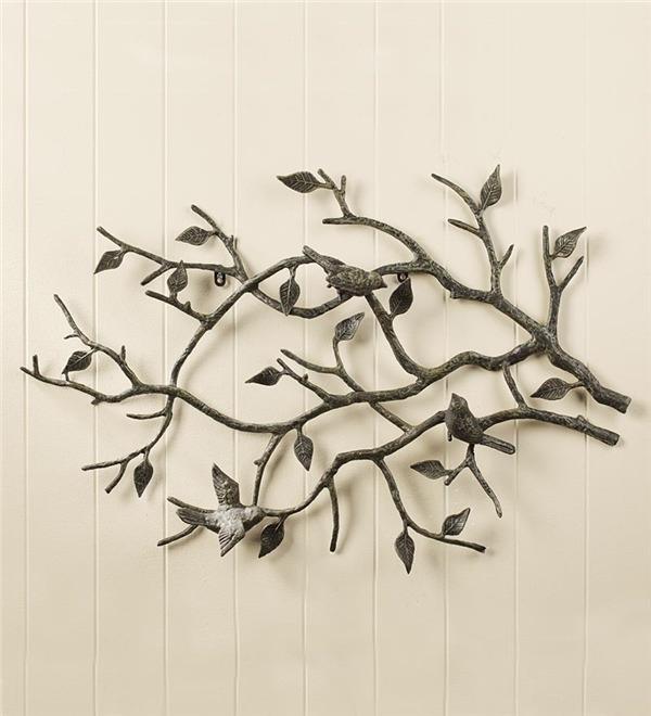 Indoor/outdoor Cast Iron Bird Branch Wall Art | Metal Wall Art With Regard To Fabric Bird Wall Art (View 7 of 15)