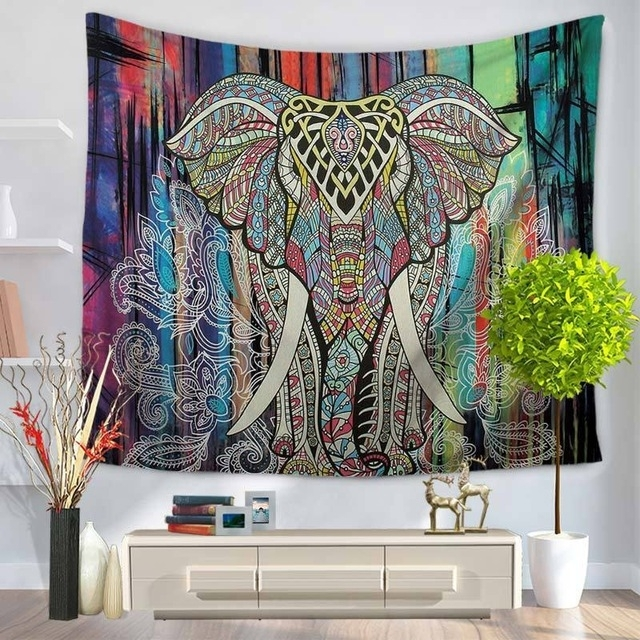 Inidan Bohemian Mandala Elephant Tapestry Rectangle Polyester Regarding Elephant Fabric Wall Art (View 15 of 15)