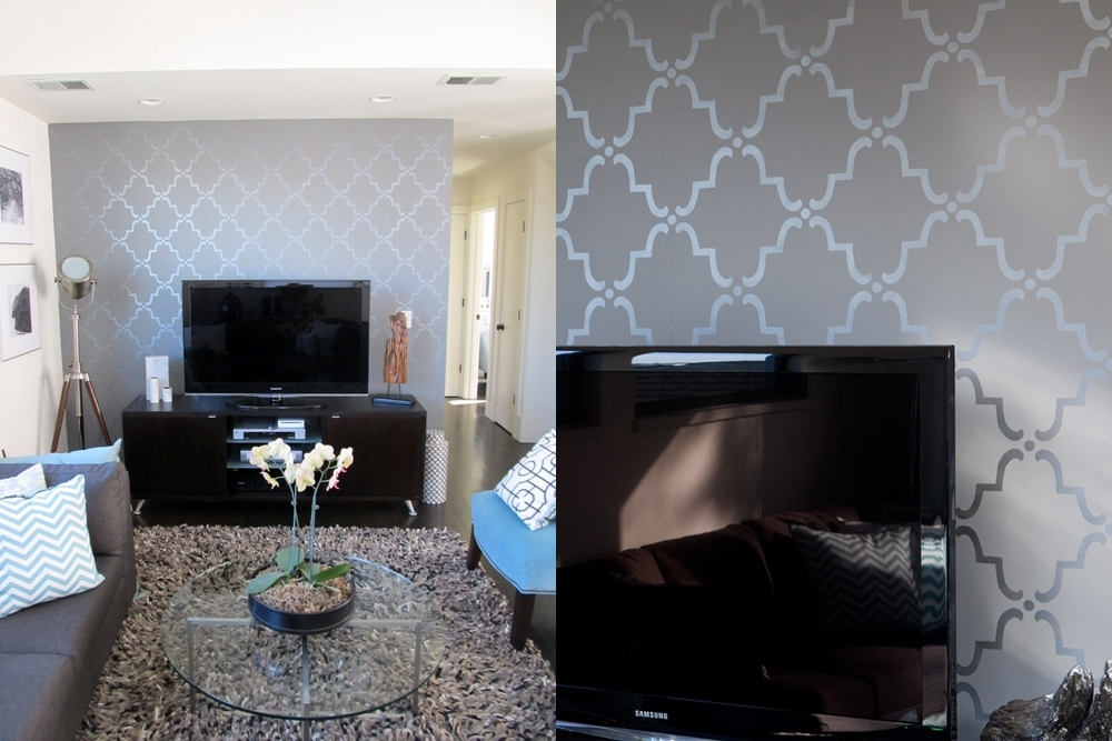 Inspiring Modern Wallpaper Accent Wall For Living Rooms Wallpaper With Regard To Wallpaper Wall Accents (Image 4 of 15)