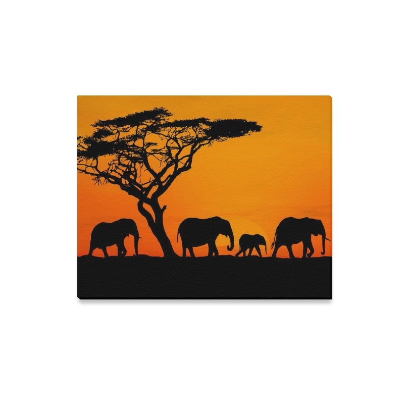 Interestprint African Elephant Sunset Safari Canvas Wall Art Print Intended For Safari Canvas Wall Art (View 14 of 15)
