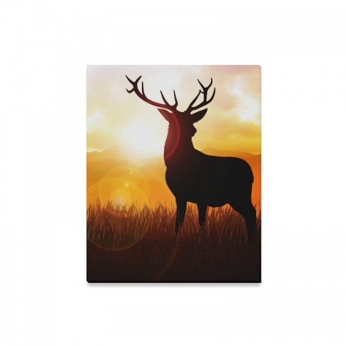 Interestprint Wildlife Deer Silhouette On Meadow Canvas Wall Art With Regard To Deer Canvas Wall Art (View 15 of 15)