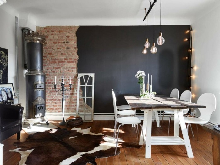 Interior Brick Wall Paint Ideas Black Accent Felletppich Dining Inside Brick Wall Accents (Image 13 of 15)