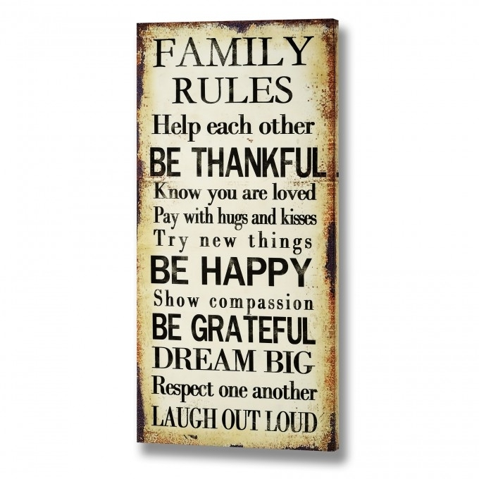 Interior & Decoration: Family Rules Canvas For Home Decoration Throughout Canvas Wall Art Family Rules (View 9 of 15)