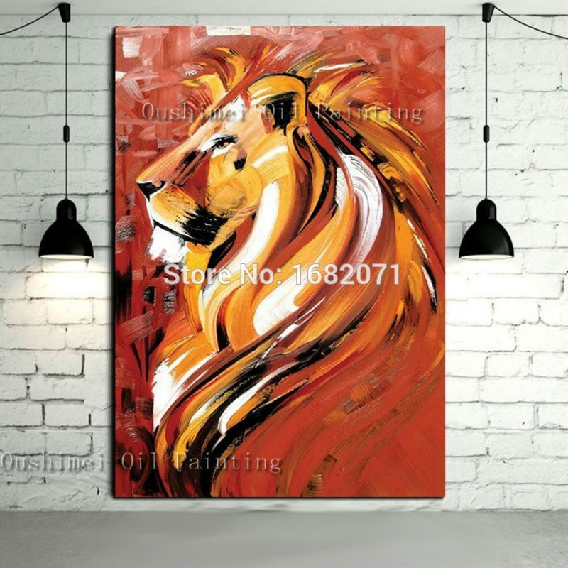 Interior Decoration Items Hand Painted Abstract Animal Portrait In Abstract Lion Wall Art (Image 11 of 15)