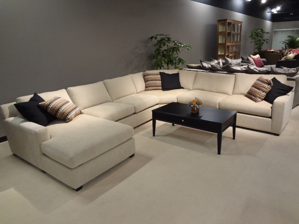Interior : Large Sectional Sofas With Chaise Dark Brown Colored Sofa Throughout Wide Sectional Sofas (Image 5 of 10)
