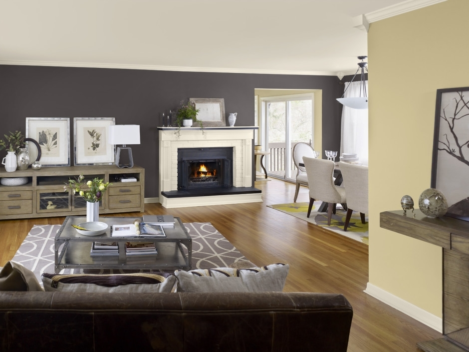 Interior Living Room With Brown Sofa And Wooden Floor Also Neutral With Regard To Neutral Color Wall Accents (View 3 of 15)