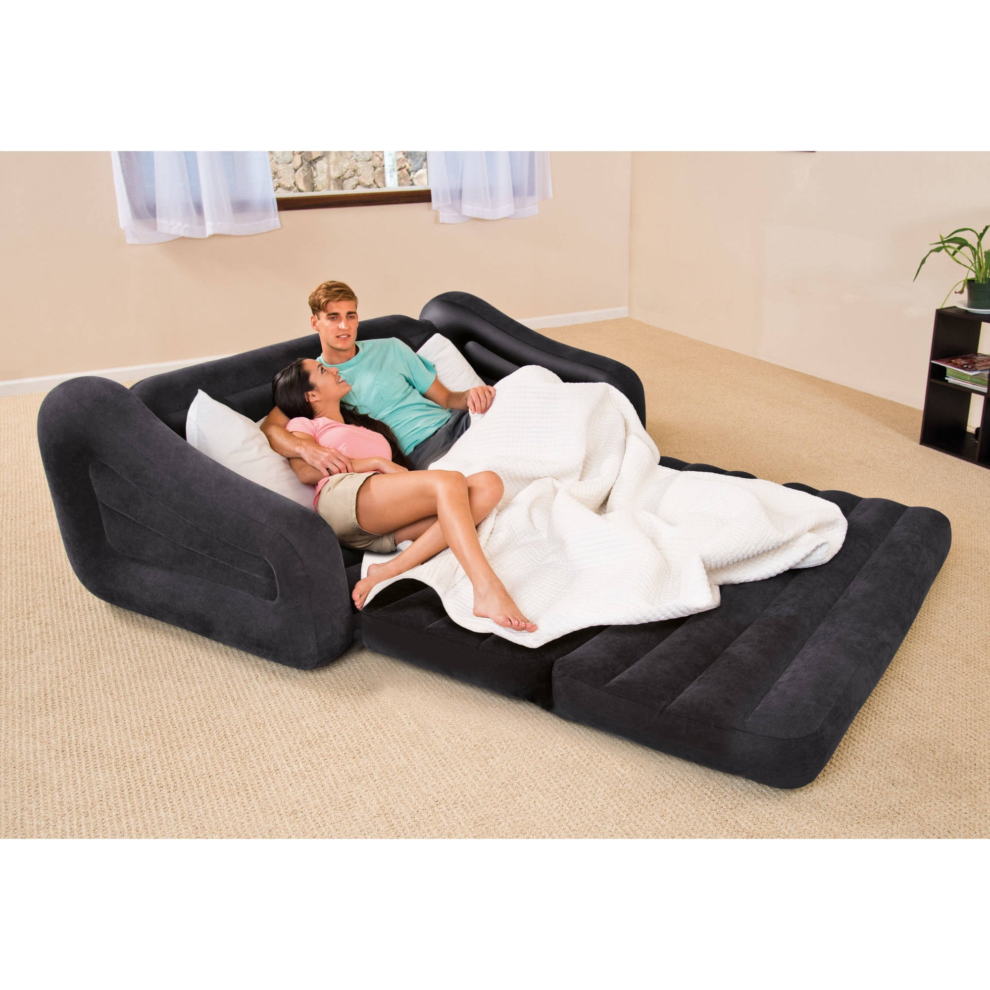 Intex Queen Inflatable Pull Out Sofa Bed – Walmart With Queens Ny Sectional Sofas (View 8 of 10)
