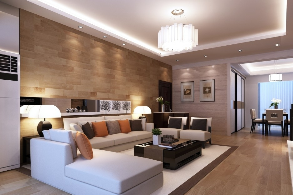 Inviting Contemporary Modern Wood Paneling For Living Room Walls Throughout Wall Accents For L Shaped Room (Image 9 of 15)