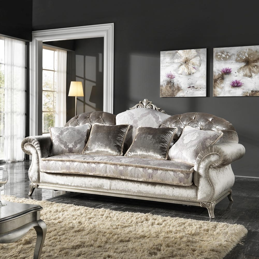 Italian 3 Seater Fabric Sofa, Classic Design, Liberty Intended For Classic Sofas (Image 5 of 10)
