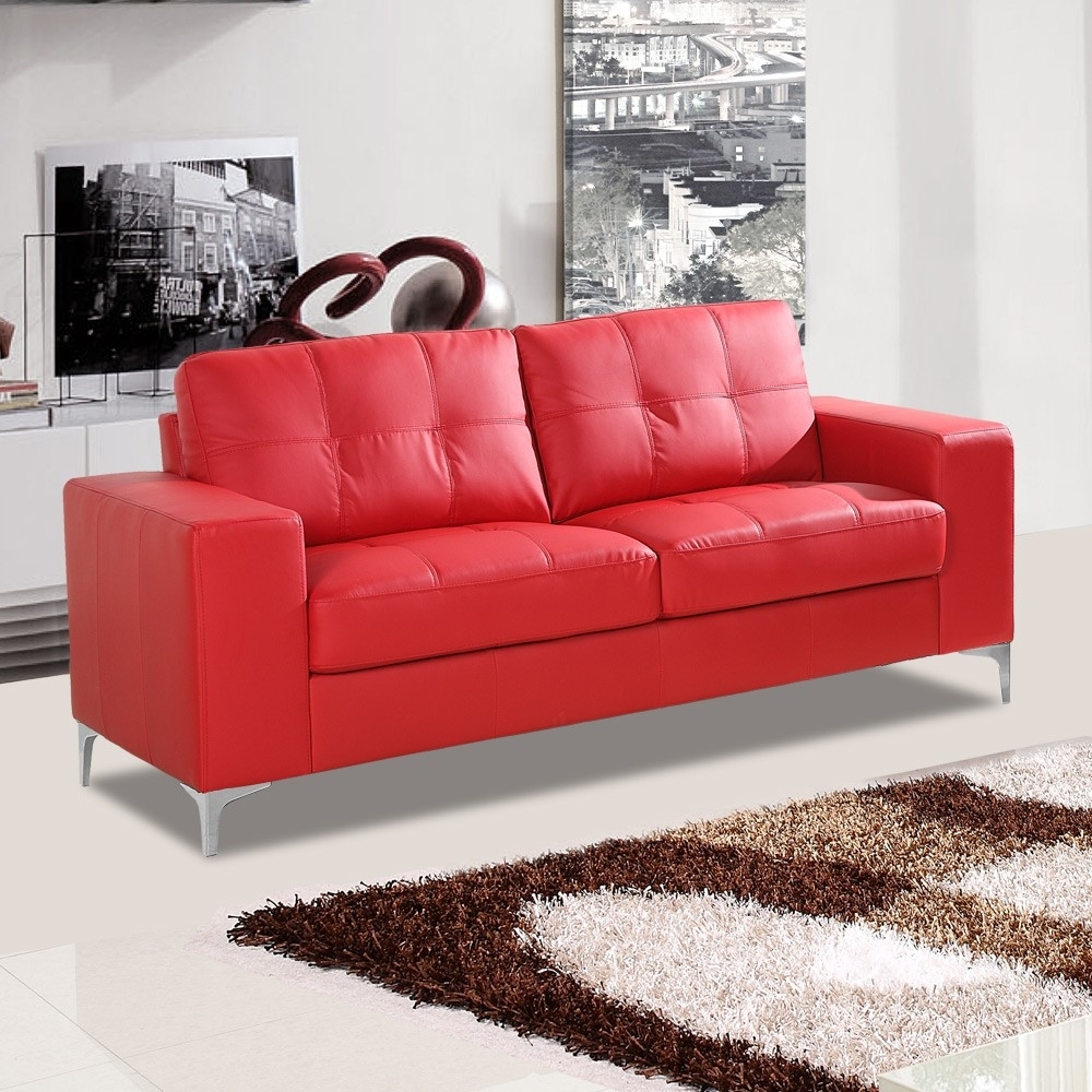 Italian Inspired Red Leather Sofa Collection With Chrome Stiletto Feet With Red Leather Sofas (Image 6 of 10)