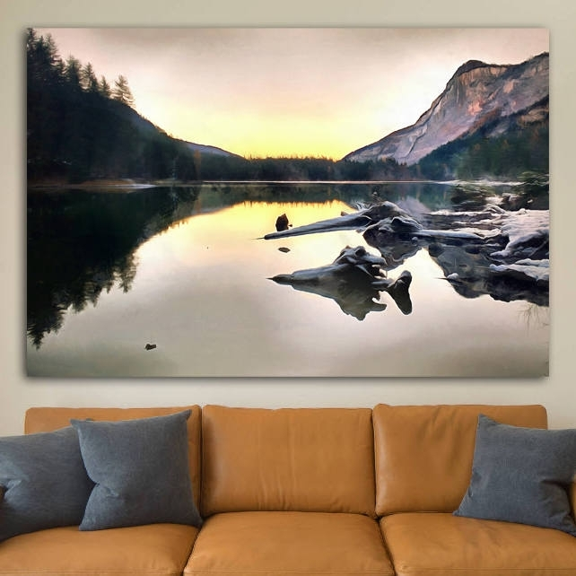 Italian Mountains Canvas, Italy Large Wall Art, Italian Lake Within Mountains Canvas Wall Art (View 13 of 15)