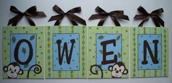 Items Similar To Personalized Green Monkey Custom Canvas Letter In Letters Canvas Wall Art (View 11 of 15)