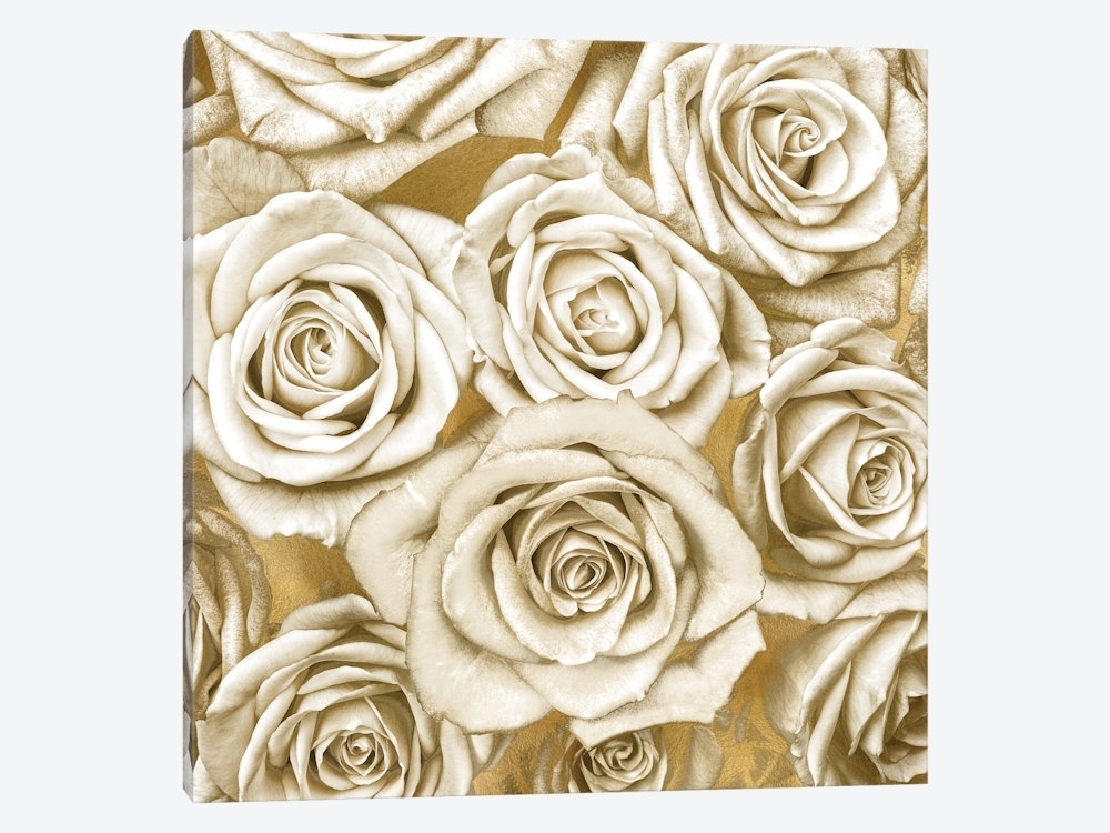 Ivory Roses On Gold Canvas Wall Artkate Bennett | Icanvas Inside Gold Canvas Wall Art (View 8 of 15)