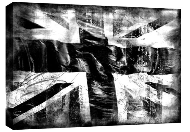 "Jack Grunge Single Canvas Picture 47"" 119 Cm Wide - Black & White inside Union Jack Canvas Wall Art"