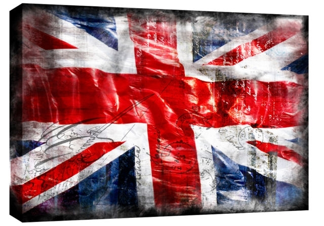 "Jack Grunge Single Canvas Picture 47"" 119 Cm Wide – Colour Options Inside Union Jack Canvas Wall Art (View 4 of 15)"
