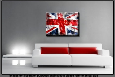 """Jack Grunge Single Canvas Picture 47"""" 119 Cm Wide – Colour Options Throughout Union Jack Canvas Wall Art (Image 11 of 15)"""