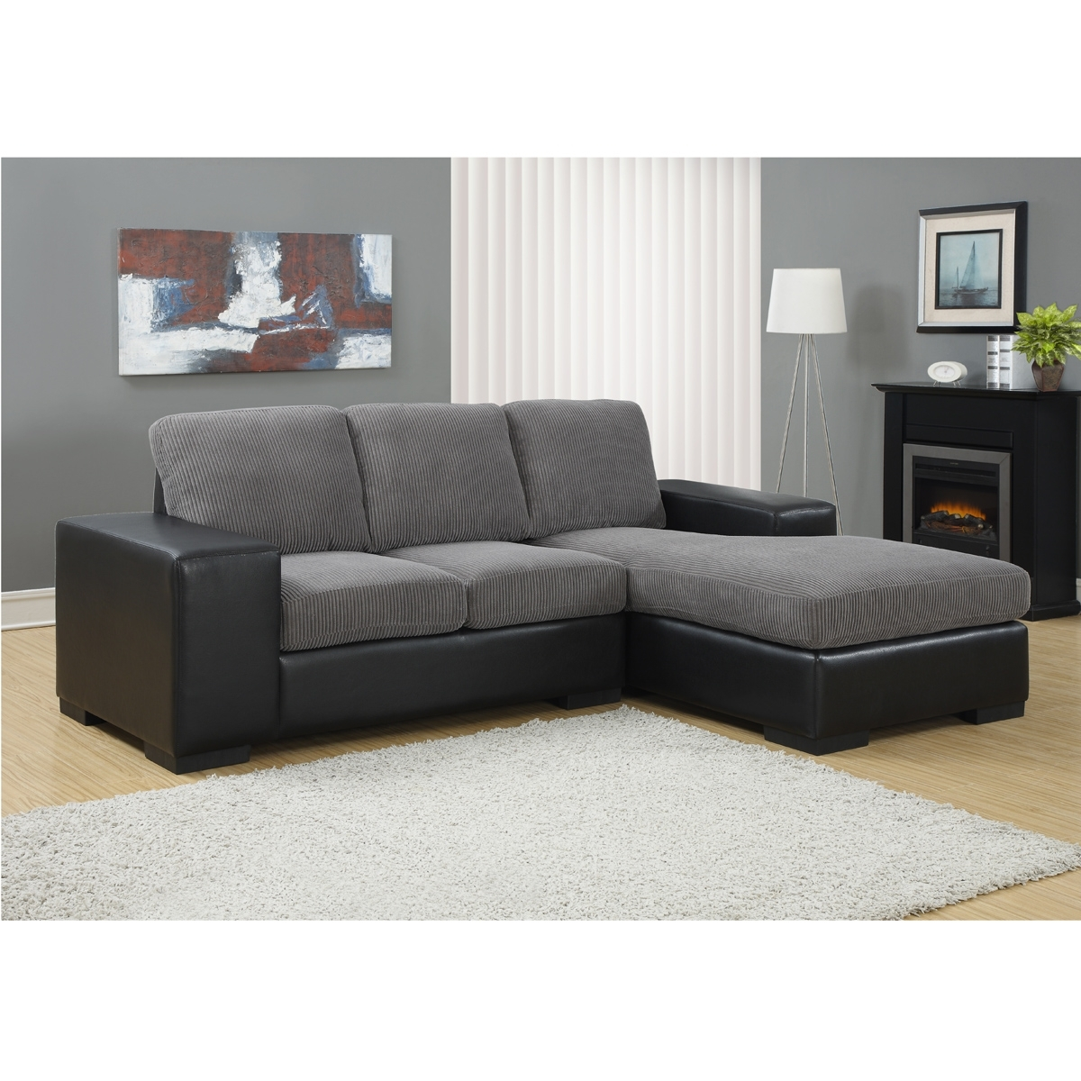 Jacob Corduroy Sofa In Grey & Black | Modern Sectional Sofas intended for Sectional Sofas For Condos