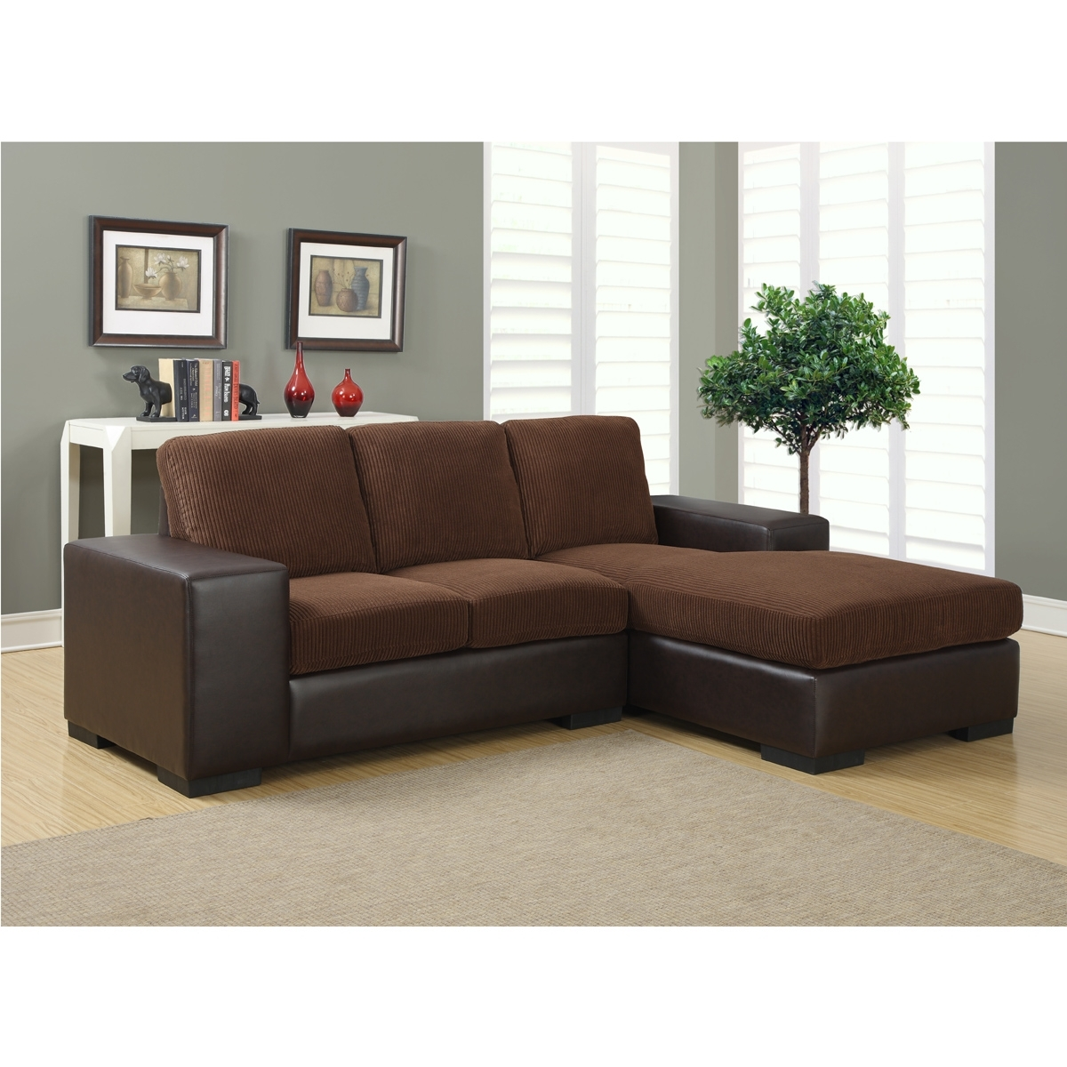 Jacob Sectional Sofa | Modern Sectional Sofas In Brown Corduroy throughout Sectional Sofas For Condos