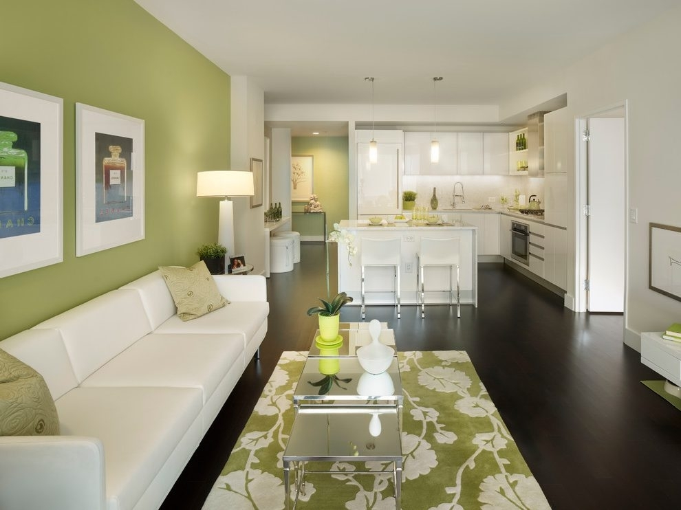 Jade Green Walls Living Room Contemporary With Drum Shade White With Green Wall Accents (Image 11 of 15)