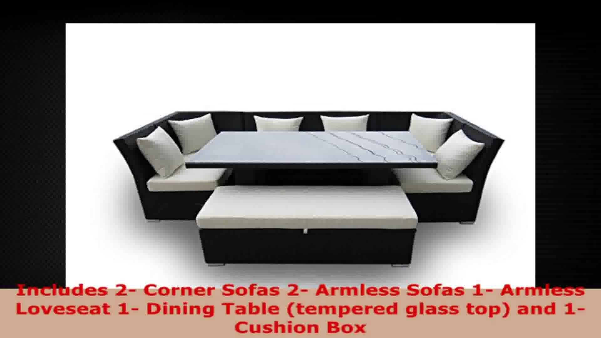Jamaican 7 Piece Outdoor Patio Sectional Dining And Sofa Set With with Jamaica Sectional Sofas