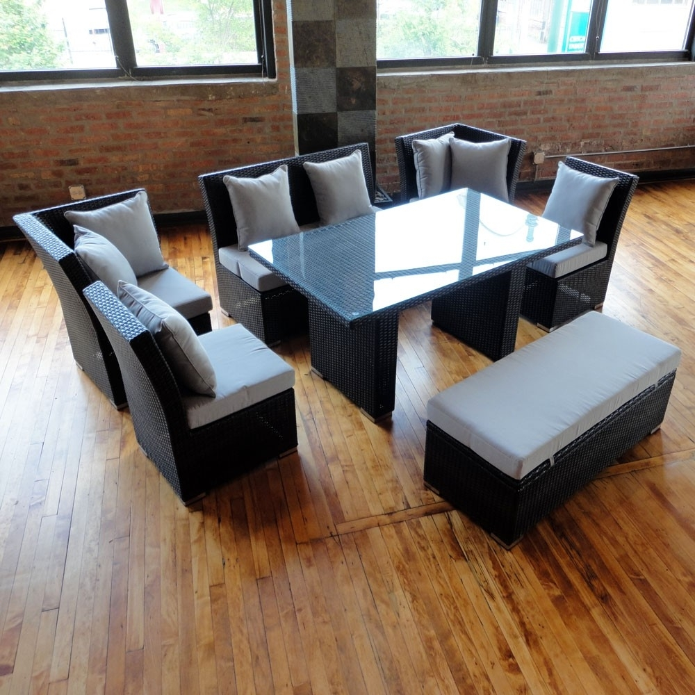 Jamaican Sofa And Dining Set In Brown Wicker, Light Gray Fabric within Jamaica Sectional Sofas