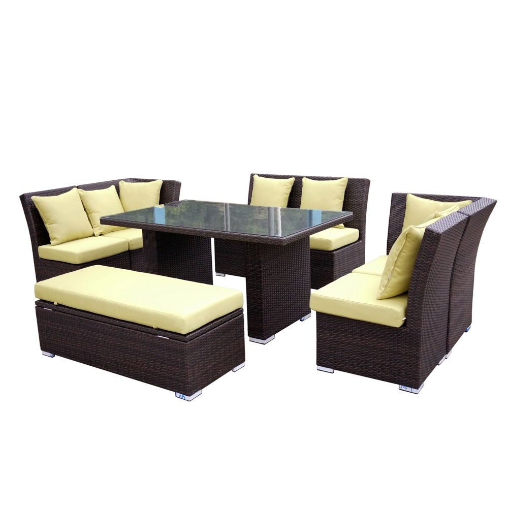 Jamaican Sofa And Dining Set In Brown Wicker, Light Green Fabric regarding Jamaica Sectional Sofas