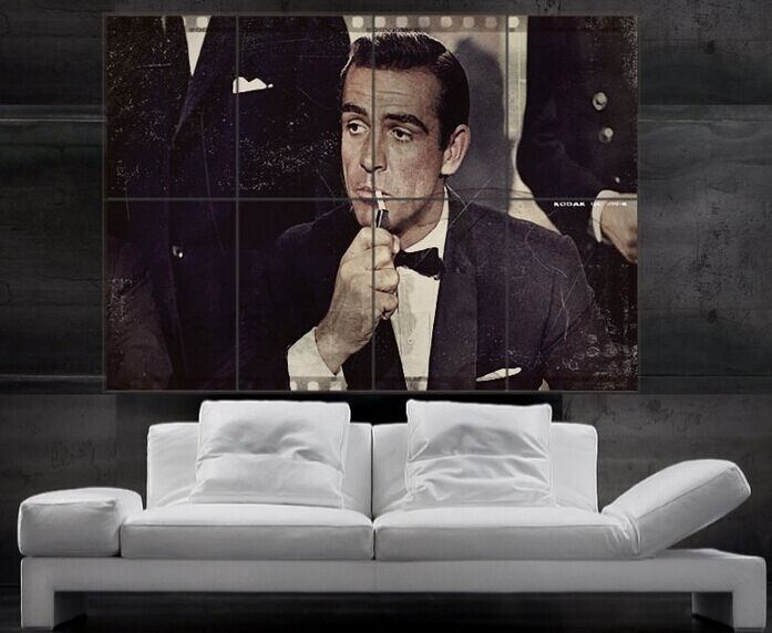 James Bond Sean Connery 007 Print Art Huge 8 Parts Wall Picture Intended For James Bond Canvas Wall Art (Image 9 of 15)