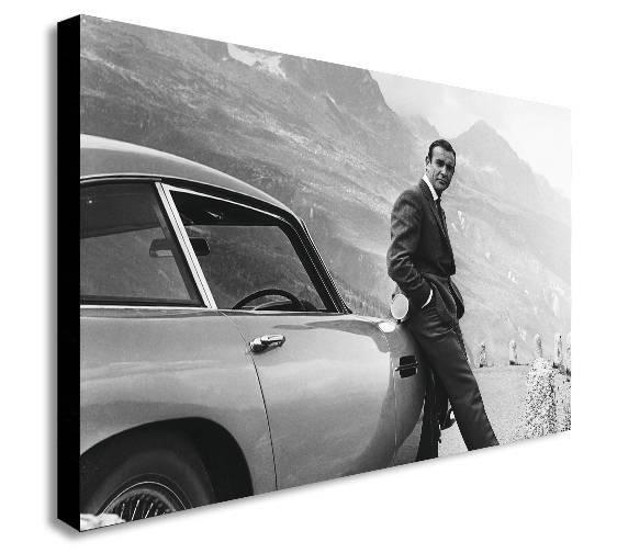 James Bond Sean Connery Aston Martin Canvas Wall Art Print Throughout James Bond Canvas Wall Art (Image 10 of 15)