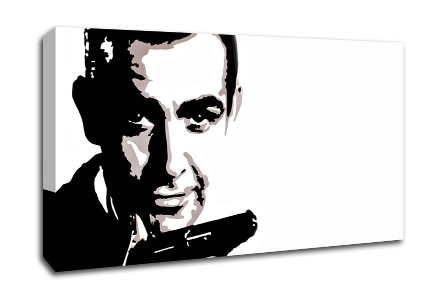 James Bond Sean Connery People Wide Panel Canvas Wide Canvas Throughout James Bond Canvas Wall Art (Image 13 of 15)