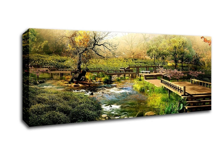 Japan Digital Landscape Hd Lake Panoramic Panel Canvas Panoramic Throughout Japanese Canvas Wall Art (Image 6 of 15)