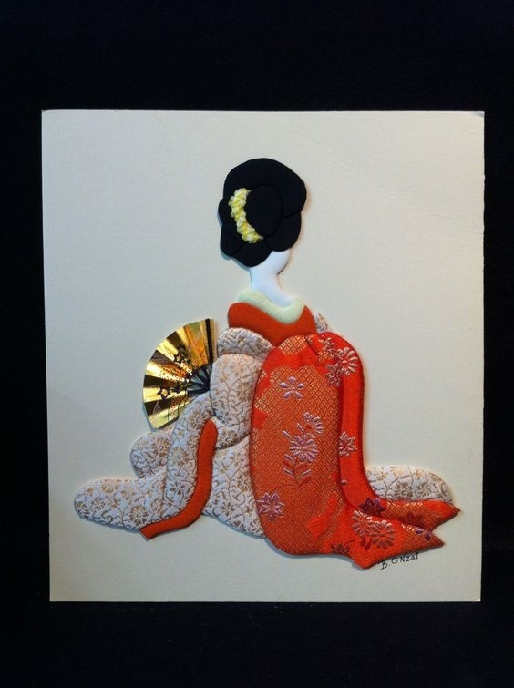 Japanese Doll In Kimono Wall Decor For Girls 2 U | Ebay | Textile With Japanese Fabric Wall Art (Image 5 of 15)