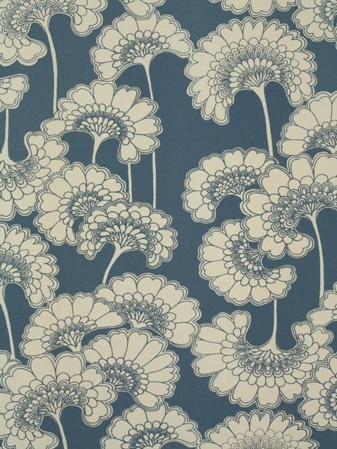 Japanese Floral Fbf Bl38 | Florence Broadhurst | Upholstery Fabric Regarding Florence Broadhurst Fabric Wall Art (View 11 of 15)