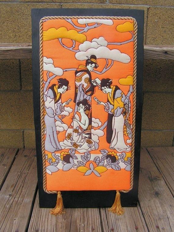 Japanese Geisha Girls Fabric Wall Hangingretrosideshow On Etsy pertaining to Mid Century Textile Wall Art