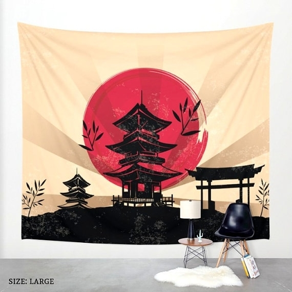 Japanese Tapestry Japanese Wall Art Japanese Decor Asian with regard to Asian Fabric Wall Art