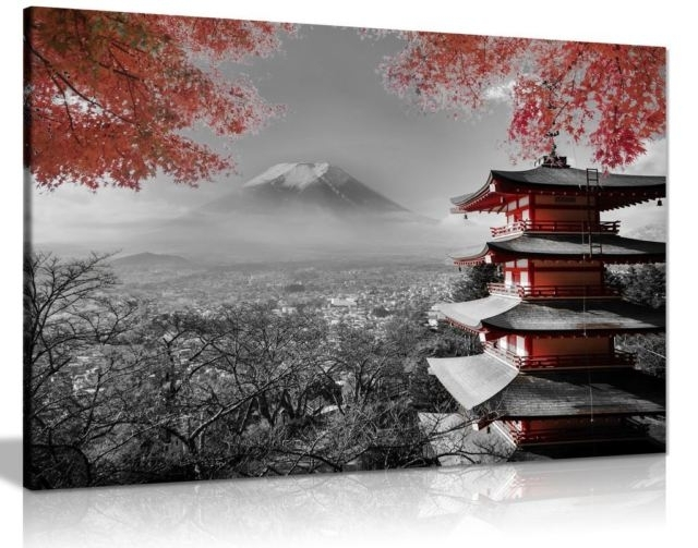 Japanese Temple In Autumn Black White Red Canvas Wall Art Picture Inside Japanese Canvas Wall Art (Image 7 of 15)