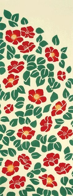 Japanese Tenugui Fabric, Red & White Camellia, Botanical Flower in Floral Fabric Wall Art