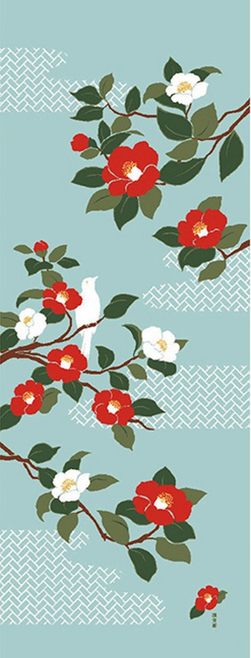 Japanese Tenugui Fabric, Red & White Camellia, Botanical Flower Regarding Japanese Fabric Wall Art (View 11 of 15)