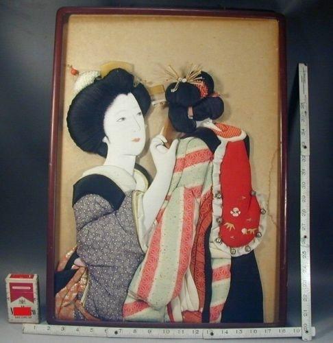 Japanese Wall Art #235 Antique Oshie Silk Fabric Kimono Geisha Within Asian Fabric Wall Art (Image 14 of 15)