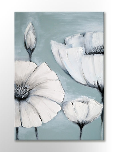 Japanese White Grey Flower Picture Peaceful Canvas Wall Art Print Intended For Duck Egg Blue Canvas Wall Art (Image 8 of 15)