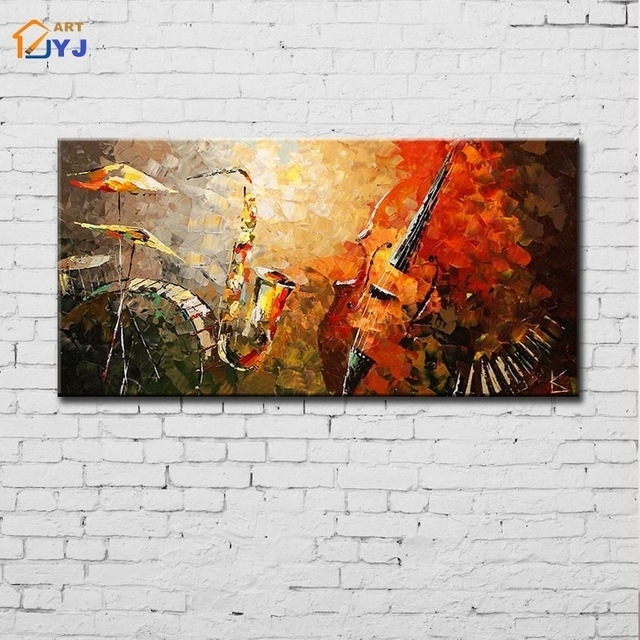Jazz Band Wall Art Wall Picture For Living Room Hand Painted for Abstract Jazz Band Wall Art
