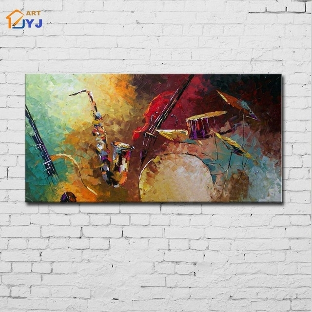 Jazz Drum Kit Music Canvas Wall Art Hand Painted Modern Abstract pertaining to Jazz Canvas Wall Art