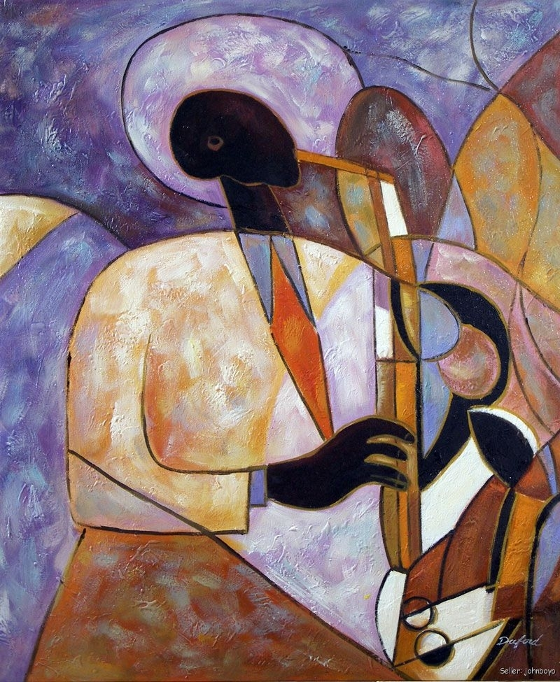 Jazz Music Saxophone Player Music Art Band Oil Painting for Abstract Jazz Band Wall Art