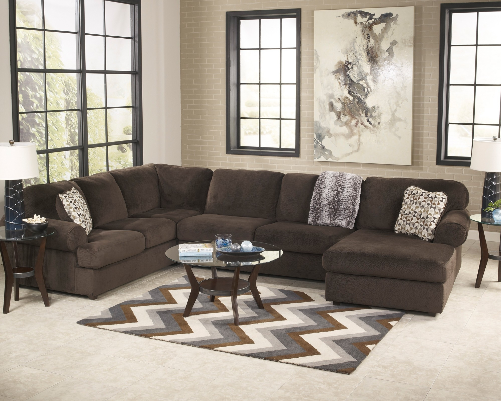 Jessa Place Chocolate 3 Piece Sectional Sofa For $ (Image 8 of 10)