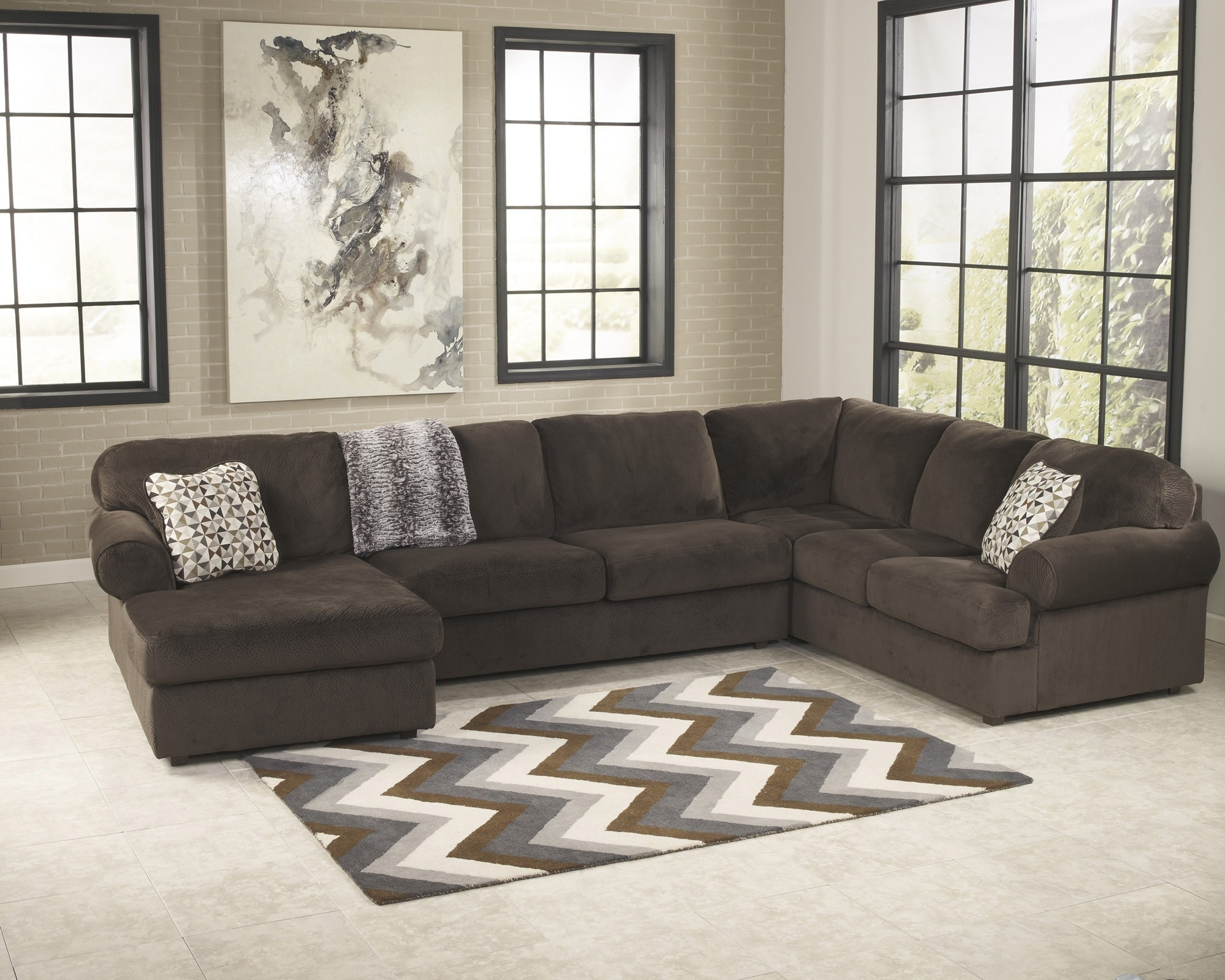 Jessa Place Chocolate 3 Piece Sectional Sofa For $ (Image 7 of 10)
