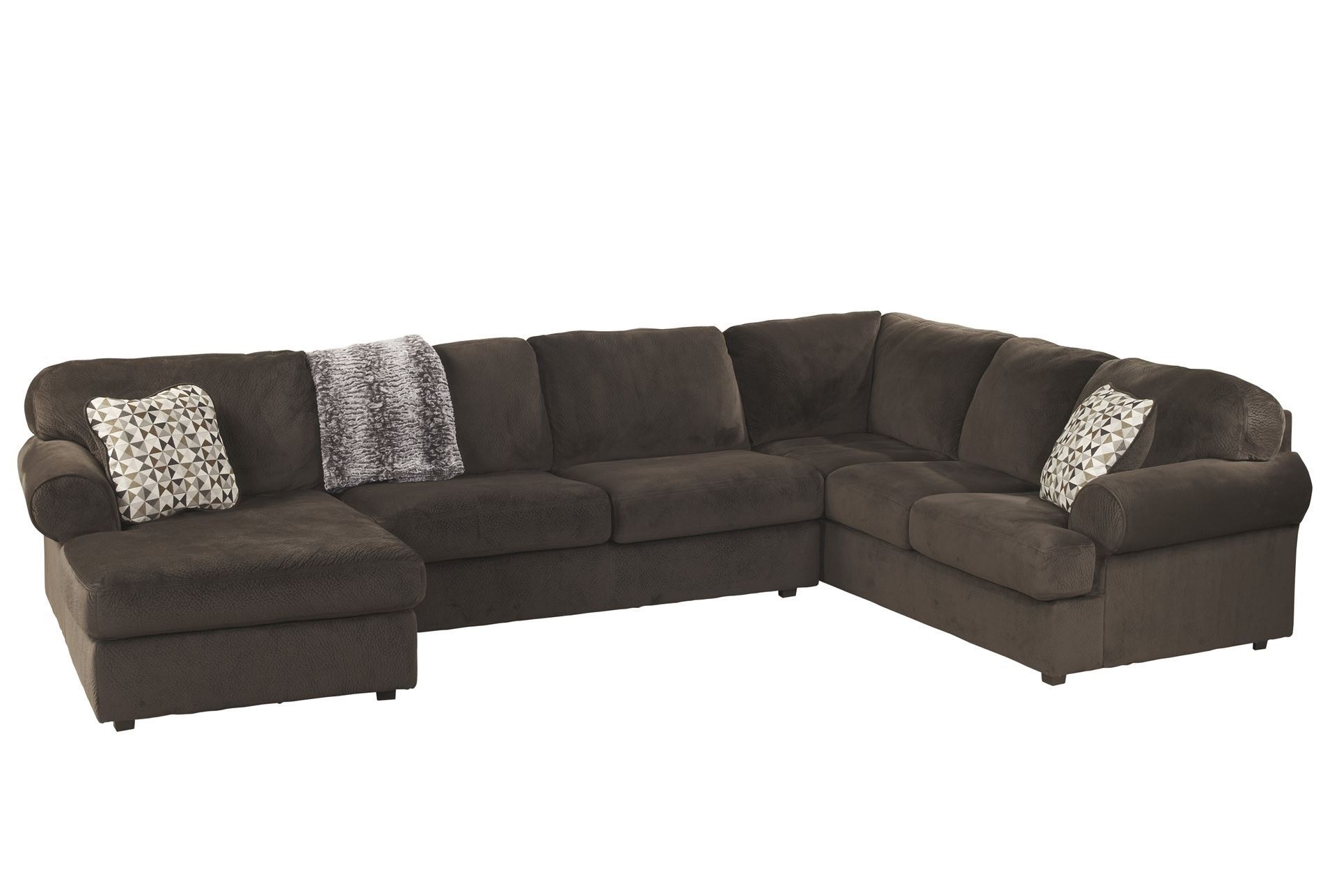 Jessa Place Chocolate 3 Piece Sectional W/raf Chaise | Living Rooms Pertaining To Homemakers Sectional Sofas (View 6 of 10)