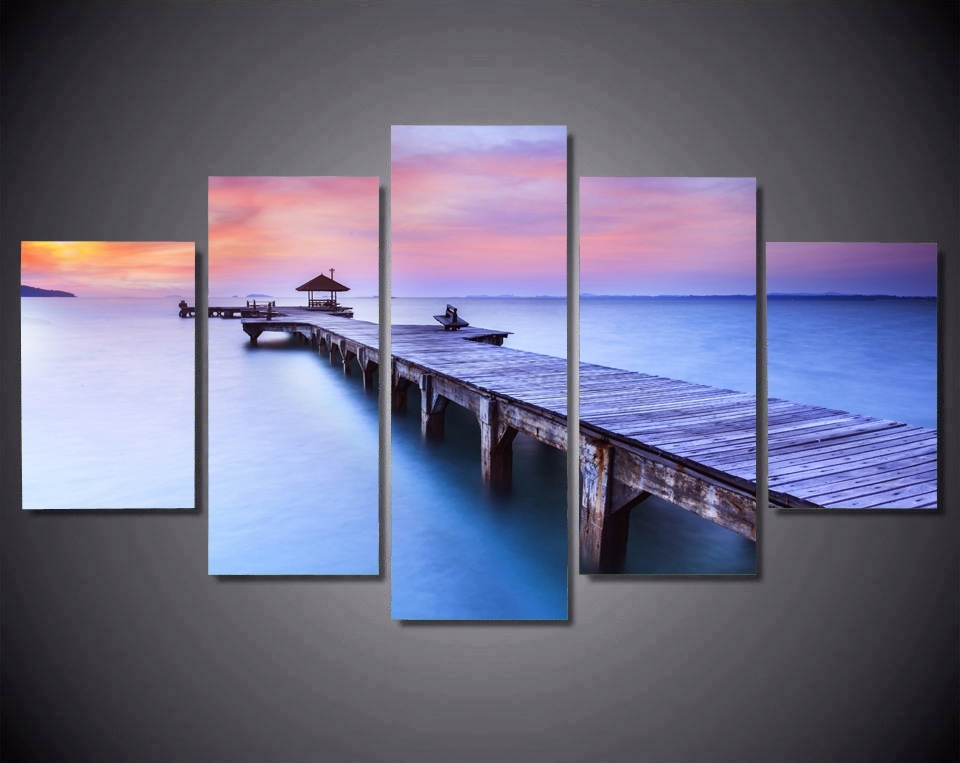 Jetty Sunrise Bridge Over Sea With Pavilion Canvas Prints 5 Pieces Inside Jetty Canvas Wall Art (Image 11 of 15)